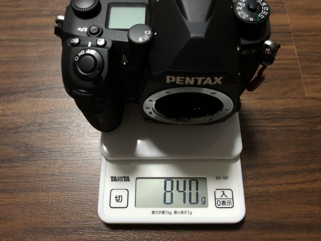 カメラ本体の重さ